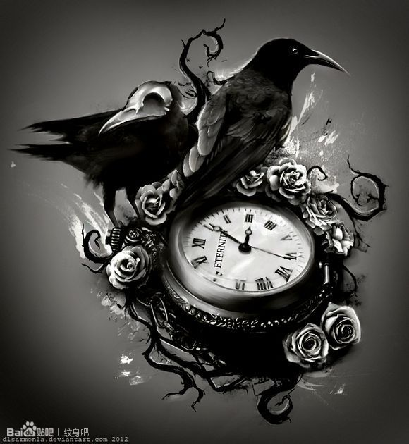 Sand clock tattoo designs  Interest tattoo ideas and design - Crow And Sand Clock Tattoo For ...