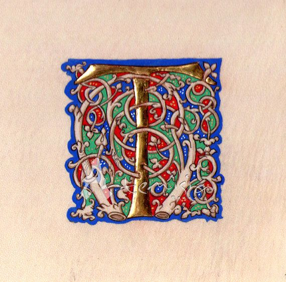 T on parchment - gold leaf and egg tempera