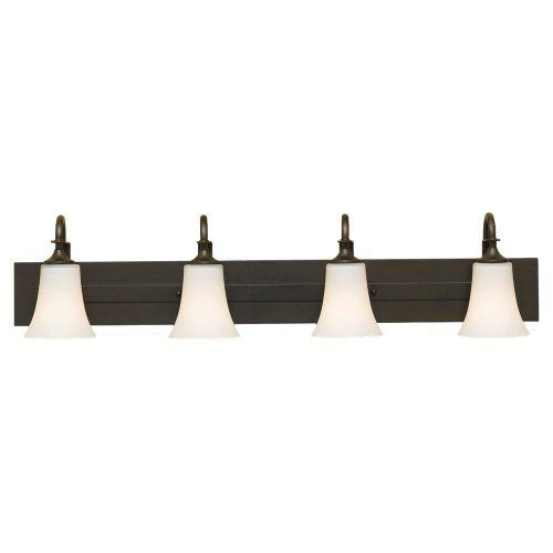 Murray Feiss VS12704-ORB 4 Light Strip Bathroom Light by Murray Feiss. $169.20. Finish:Oil Rubbed Bronze, Glass:Opal Etched, Light Bulb:(4)100w A19 Med C Incand  Barrington 4-Light Vanity Strip  Backplate Dimensions: 36.5'x4'Rect.