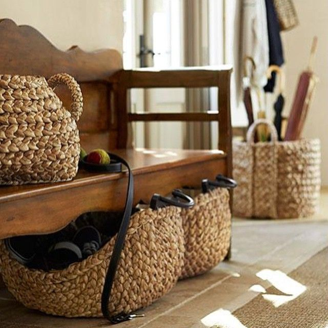 Add wooden basket to increase storage underneath bench