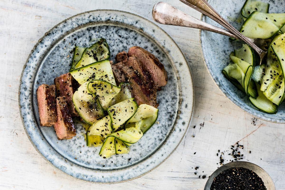 Pfeffer Rinds Tagliata Mit Gurke Rezept Einfache Gerichte Rezepte Hauptgericht