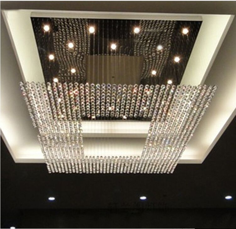 Crystal Chandeliers Square Shaped Hotel