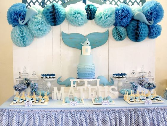 Whale Themed Baptism + Birthday Party #boybirthdayparties