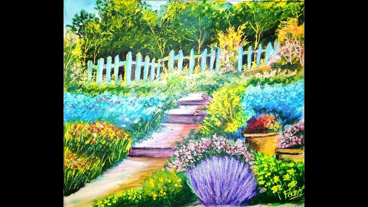 Easy And Simple Flower Garden How To Draw Garden Scenery Step By Step Garden Painting Easy Scenery Drawing Easy Landscape Paintings