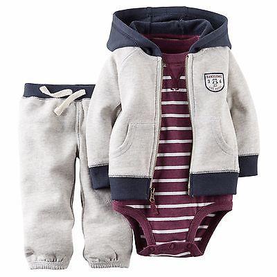 Carters Newborn 3 6 9 12 18 24 Months Cardigan Bodysuit Set Baby Boy Clothes