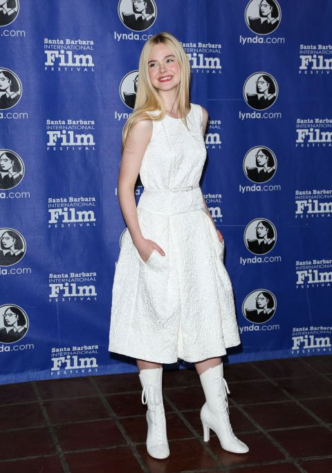 Elle Fanning wearing all white at an event in Santa Barbara. See all of the actress's best looks.