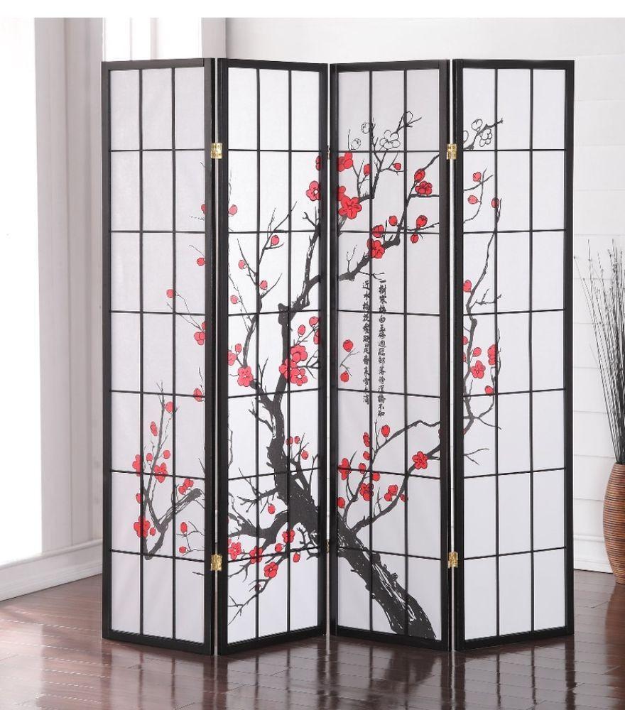 Japanese Plum Blossom Asian Paper Wood 4 Panel Screen Room Divider