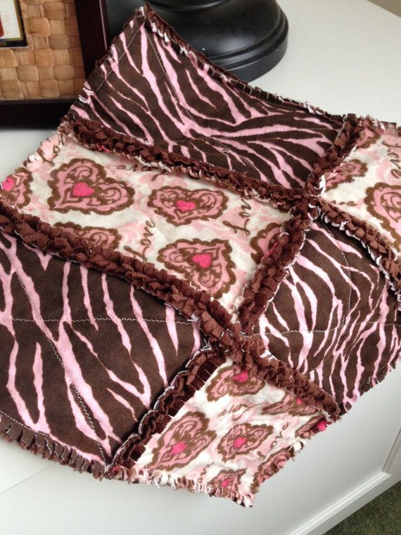 Fabulous Baby Shower gift! Modern Pink and Brown Cuddle Lovey * ready to ship* by JeanBeanCreations