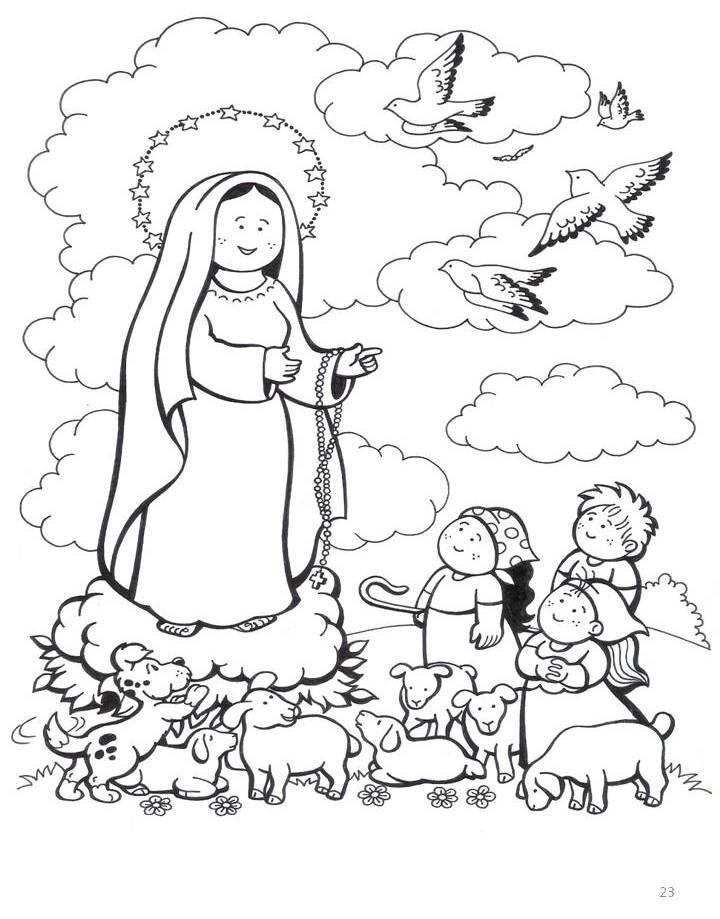 Resultado De Imagen Para Pastorcitos De Fatima Para Colorear Con
