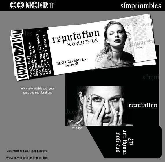 Taylor Swift Reputation World Tour Gift Custom Concert Tickets Event Concert Music Performance Stadium Taylor Swift Concert Taylor Swift Taylor Swift Tickets