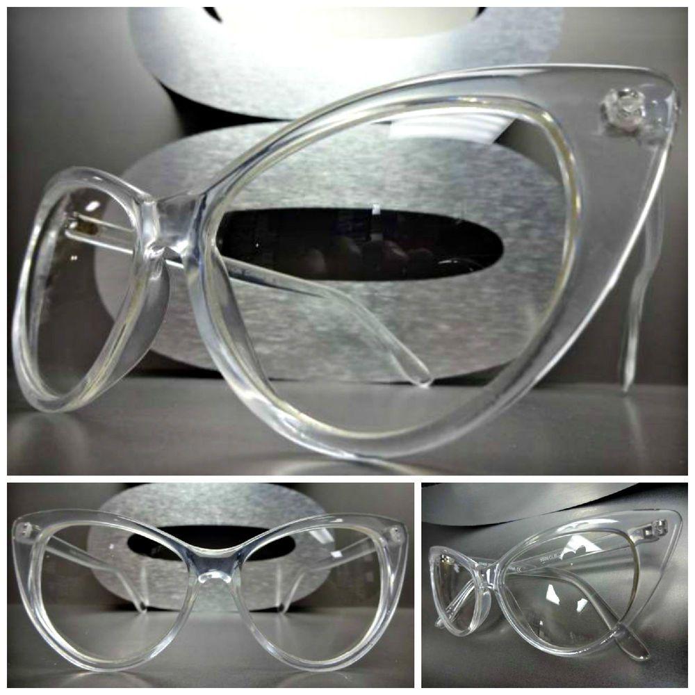 VINTAGE RETRO 60/'s CAT EYE Style Clear Lens EYE GLASSES Transparent /& Gold Frame