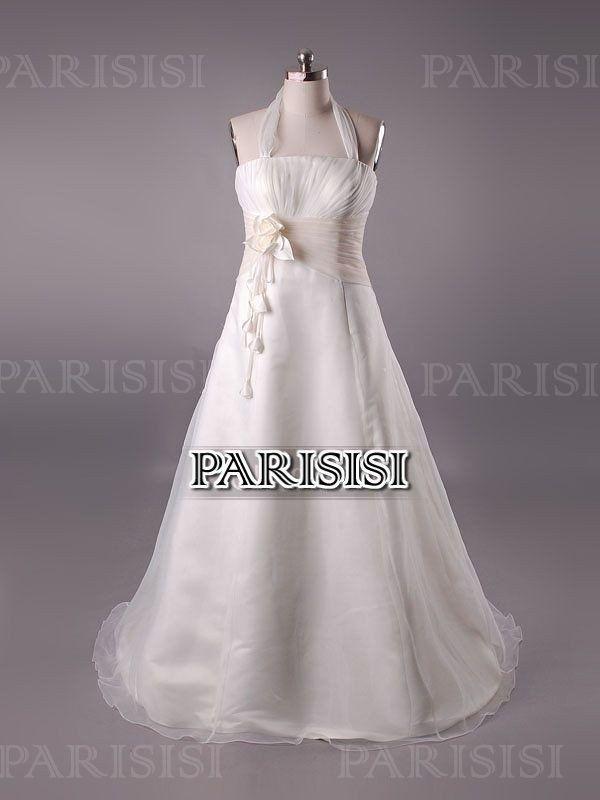 Corte A Halter Tren Cepillo Marfil vestidos de novia