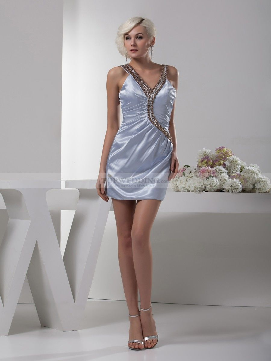 Rhinestone Flanked Satin Micro Mini Party Dress - Satin- Minis and ...