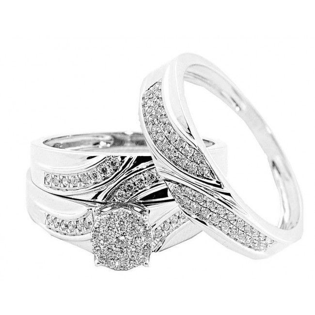 10k White Gold Trio Rings Set His And Her 0 5ctw Diamonds 3 Piece