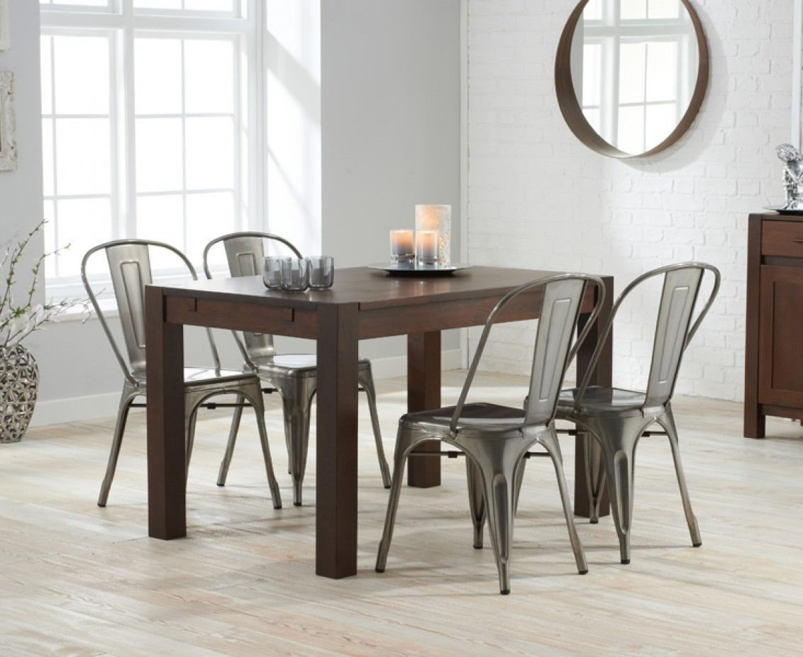 dark wood dining table sets great furniture trading company the wood dining table furniture Verona 120cm Dark Solid Oak Dining Table with Tolix Industrial Style Dining  Chairs | The Great