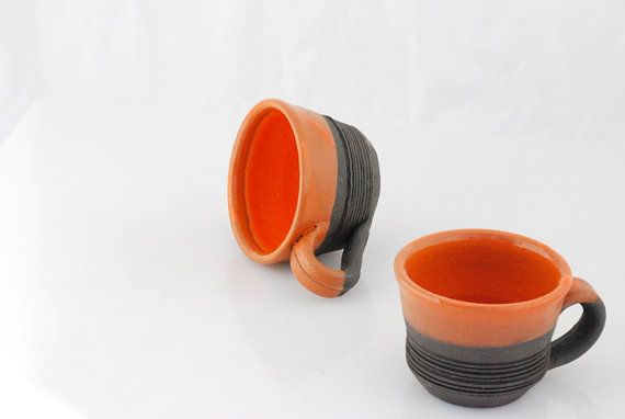 handmade coffee mugs in orange and black set of by claylicious