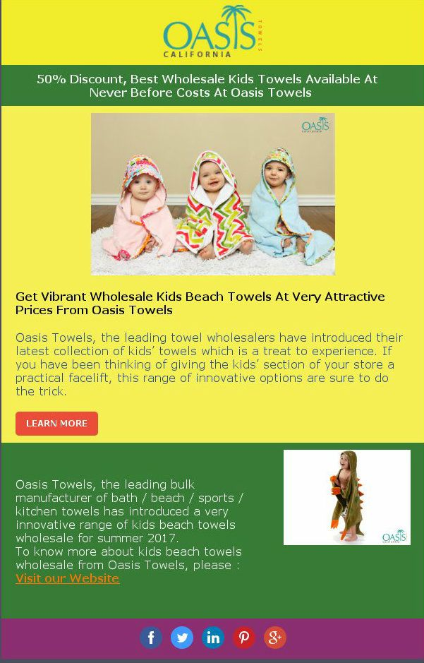 50 Discount Best Wholesale Kids Towels Available At Never Before