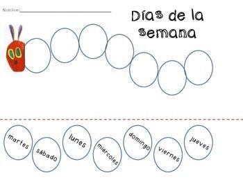 Caterpillar Days of the Week Sequence in Spanish (Días de
