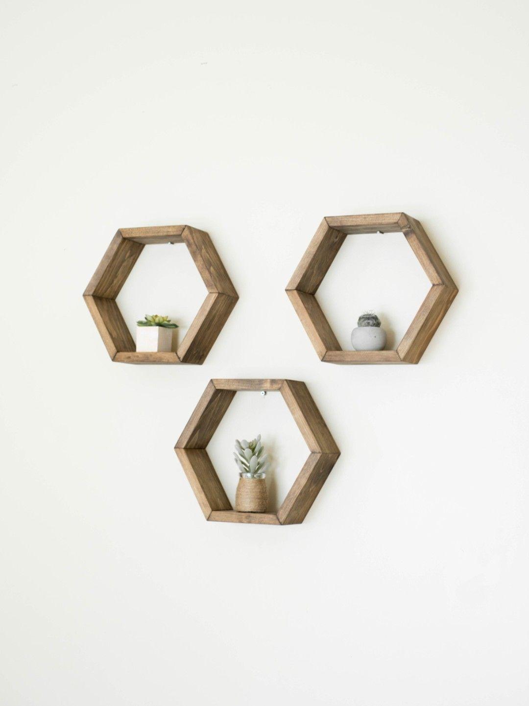 Hexagon Shelf Set Honeycomb Shelves Floating Shelves Geometric
