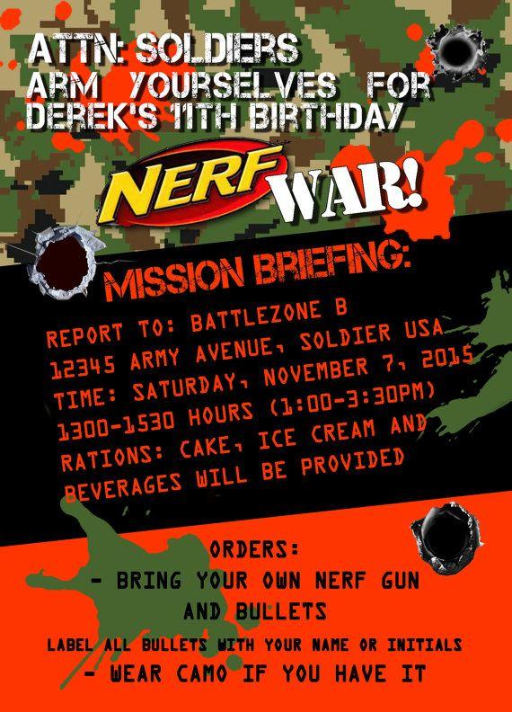 Dart Gun Battle Invitation - Dart War Birthday Party