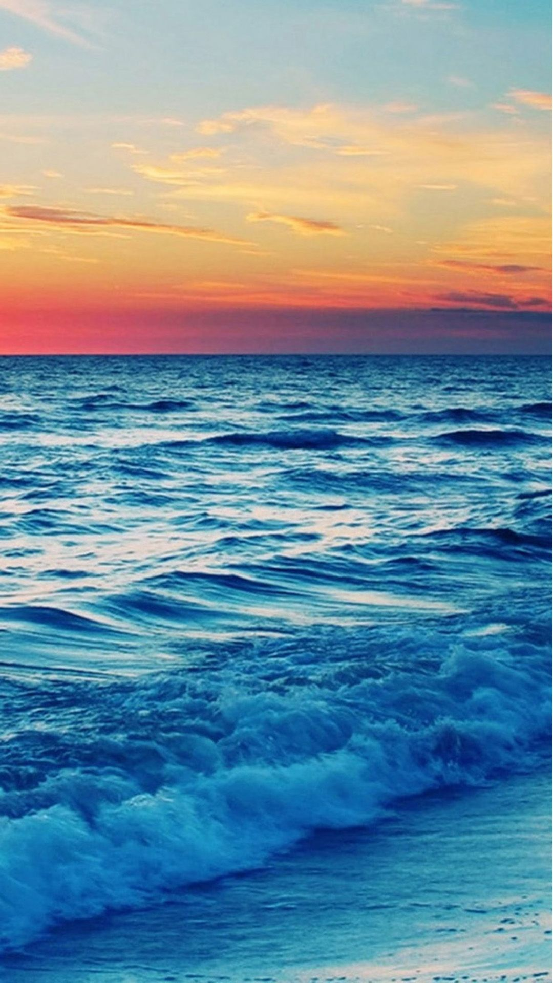Nature Sunset Sea Wave Landscape IPhone 6 Plus Wallpaper