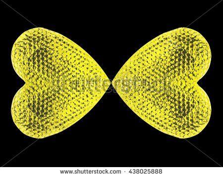 Heart crystal butterfly. 3D illustration. 3D CG. High resolution.