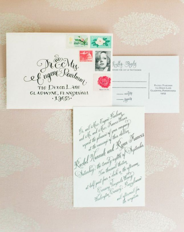 These Hand-Lettered Wedding Envelopes Will Give You Calligraphy Envy via Brit + Co