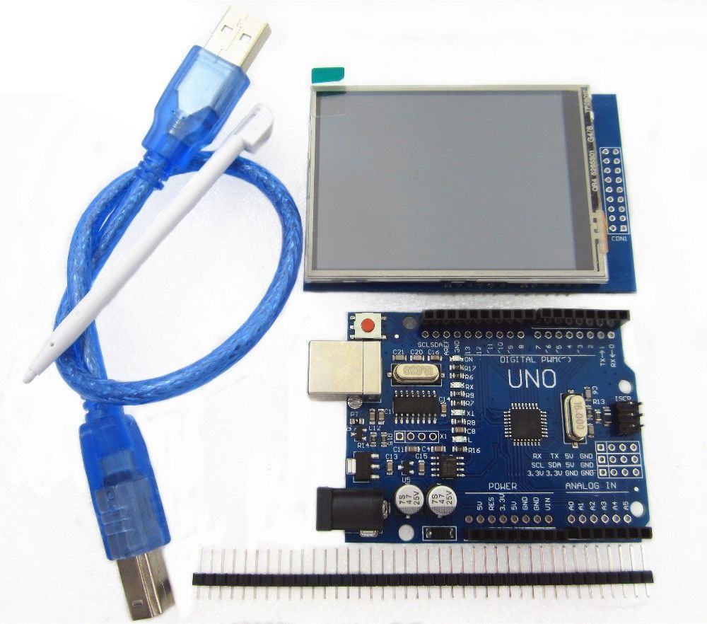 2.8 inch TFT LCD Touch Screen Display Module + Uno r3 Development Board Compatible UNO R3 + USB Cable #touchscreendisplay