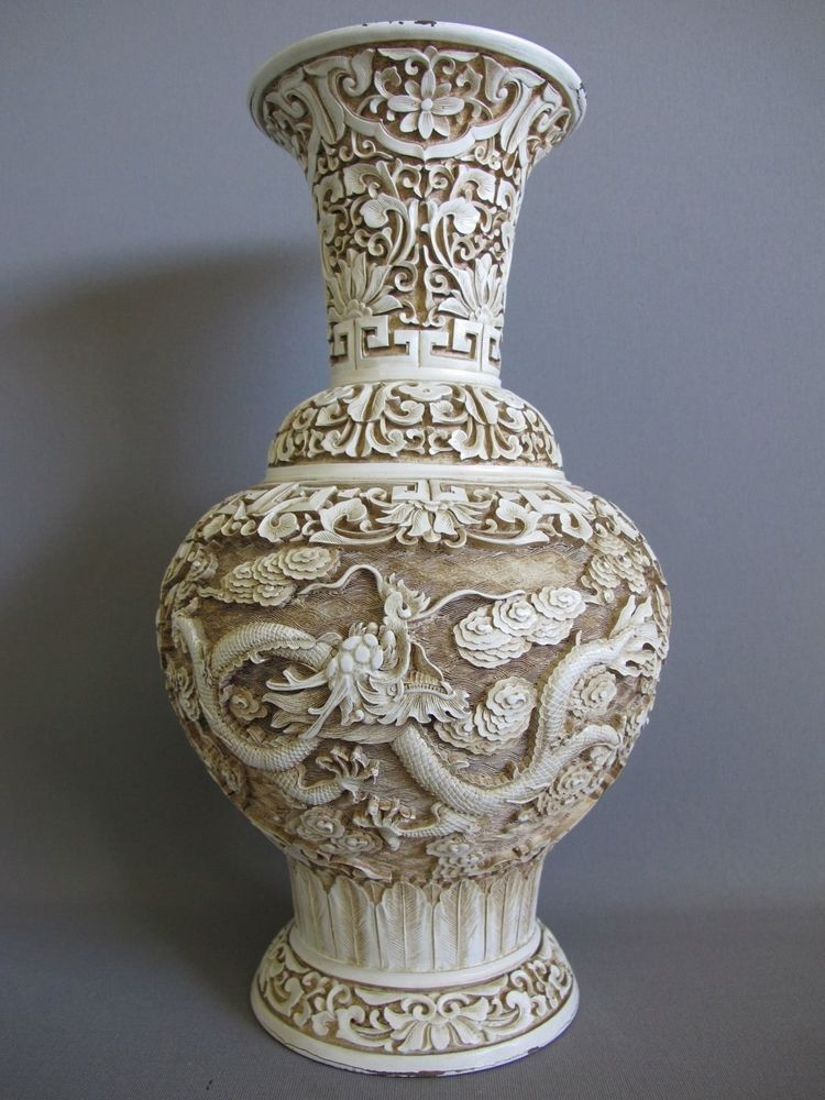Vintage Chinese White Cinnabar Carved Dragon Vase Arts Uaca