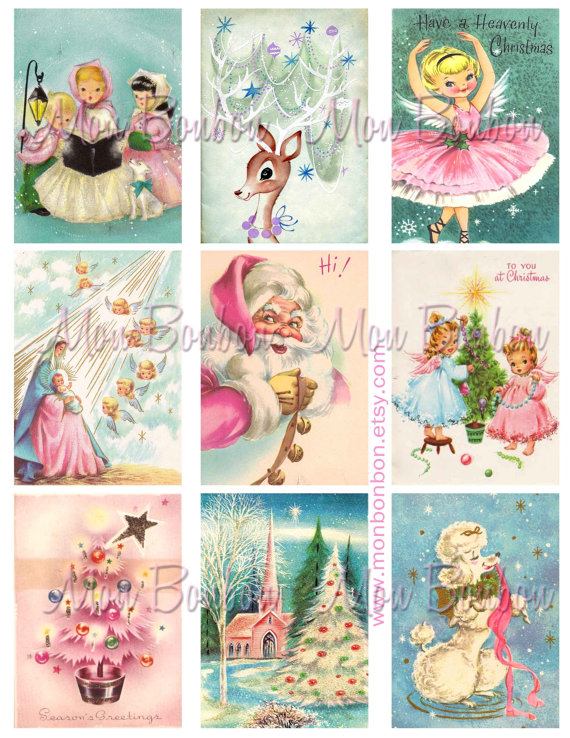 Assorted Vintage Christmas Snowman Circles 1 1//2 Circles Collage Sheet