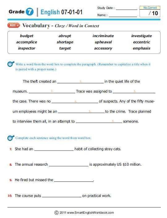 Seventh Grade English Worksheets | Printable english ...