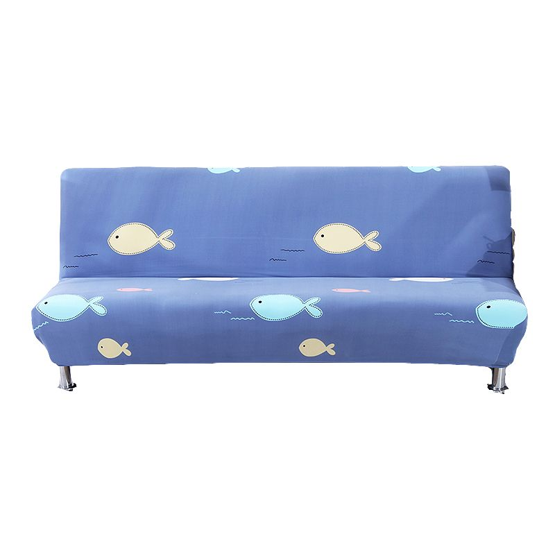 Blue Sofa Bed Cover Yellow White Pink Bubble Fish Pattern Print