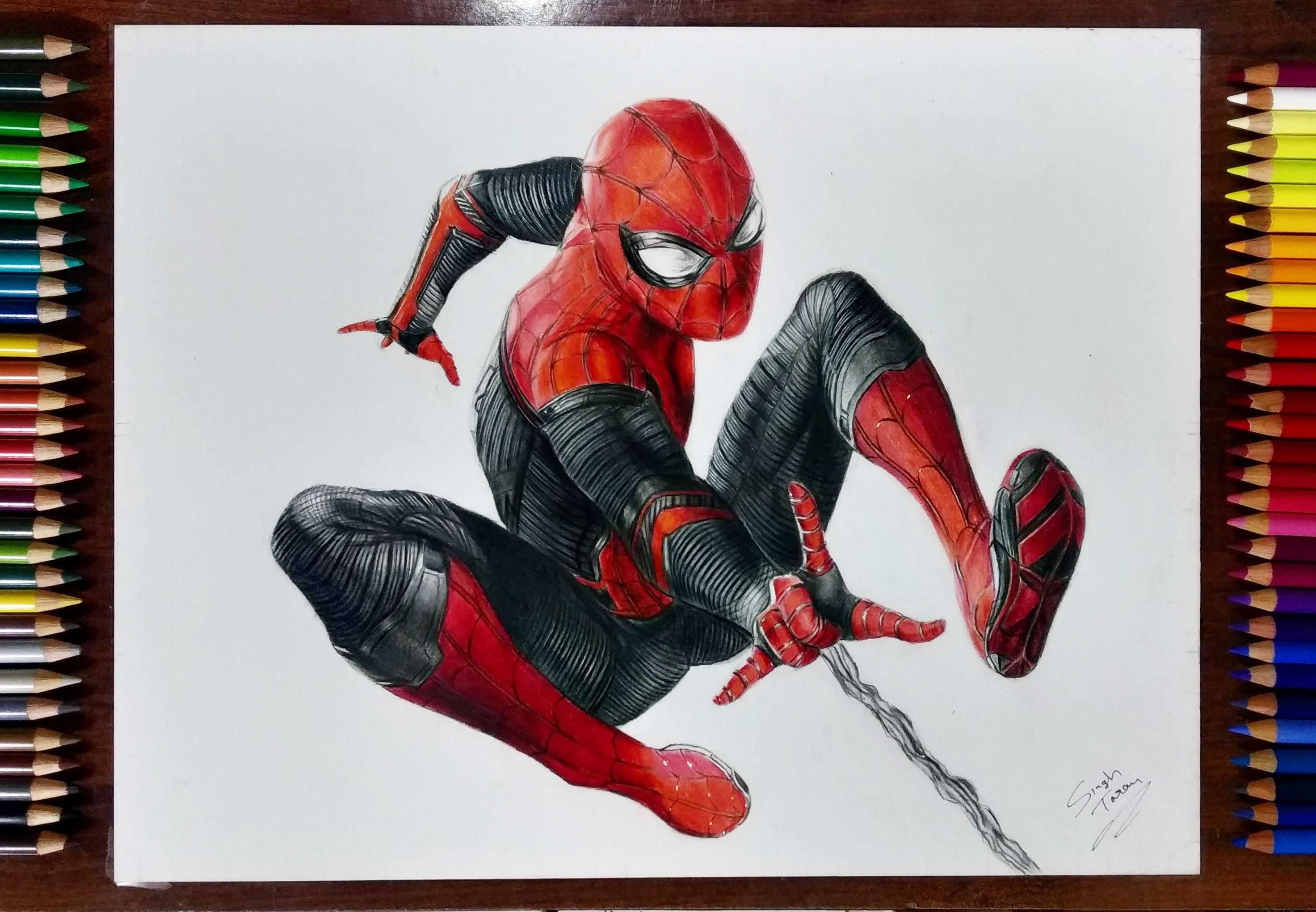 Spiderman Far From Home Suit Drawing With Colored Pencils Spiderman Art Spiderman Drawing Avengers Drawings