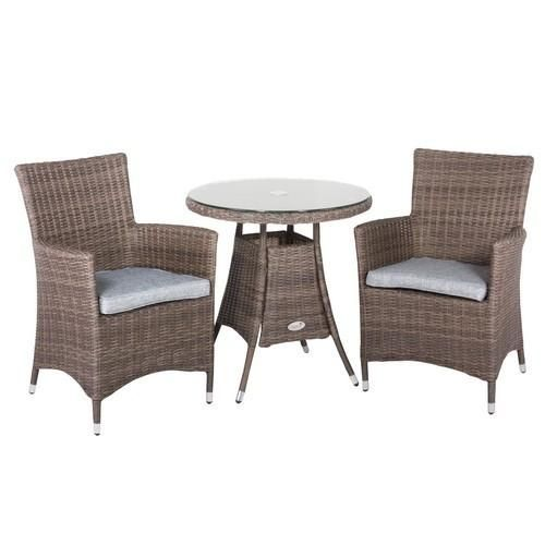 Hawaii Rattan 2 Seater Tea For Two Set With Low Back Chairs In Onyx Cocoa  With