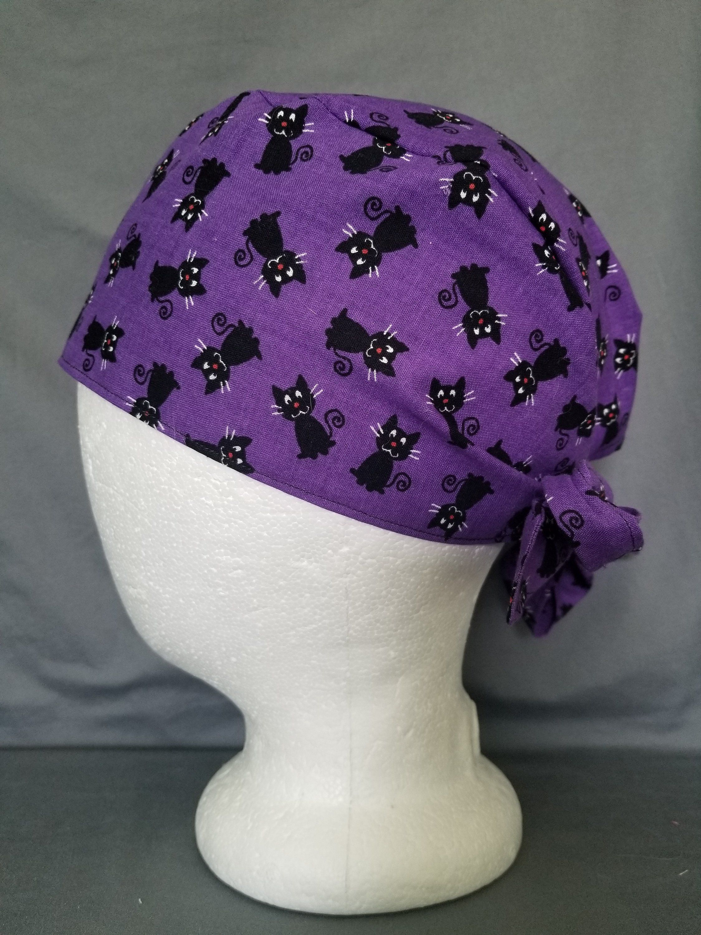 Men's style black cats on purple surgery scrub cap