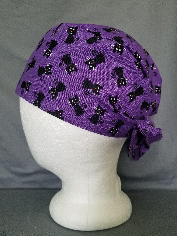 Men\u2019s short hair scrub cap purple swirls