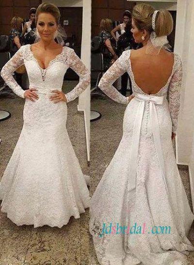 Sexy Open Back Long Sleeves Lace Mermaid Wedding Dress