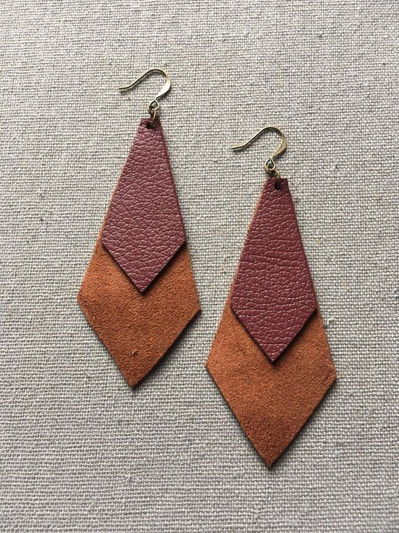 Photo of Maroon and Brown Layered Leather Earrings – Suede Earrings – Leather Drop Lightweight Earrings – Lovespangle