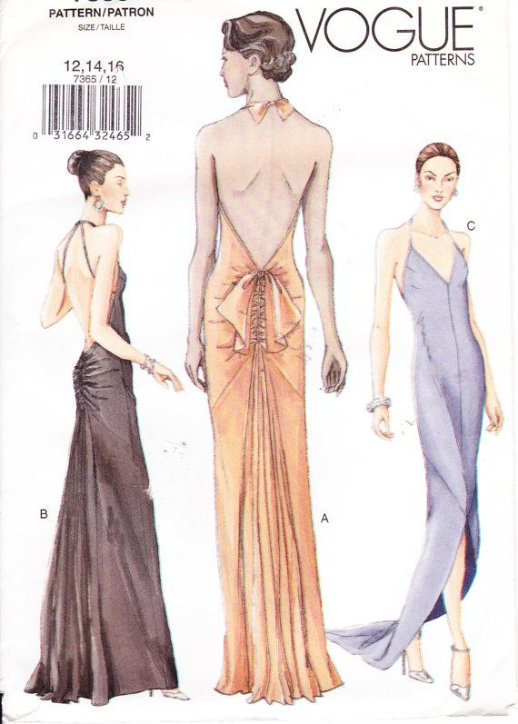 Womens Sewing Pattern Formal Evening Dress Vogue 7365 Sizes 12-41-16 ...