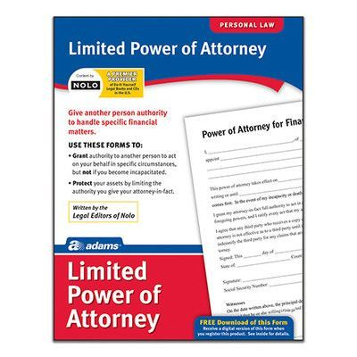 Adams Business Forms Limited Power Of Attorney Forms And