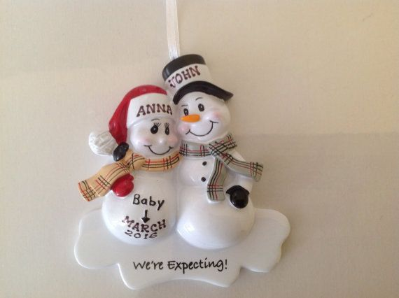 Personalized Christmas Ornament Pregnant Snowman CoupleExpecting