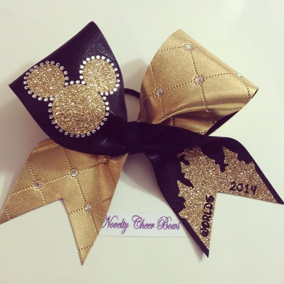 Black and Gold TicToc Rhinestone Worlds Cheer by NoveltyCheerBows
