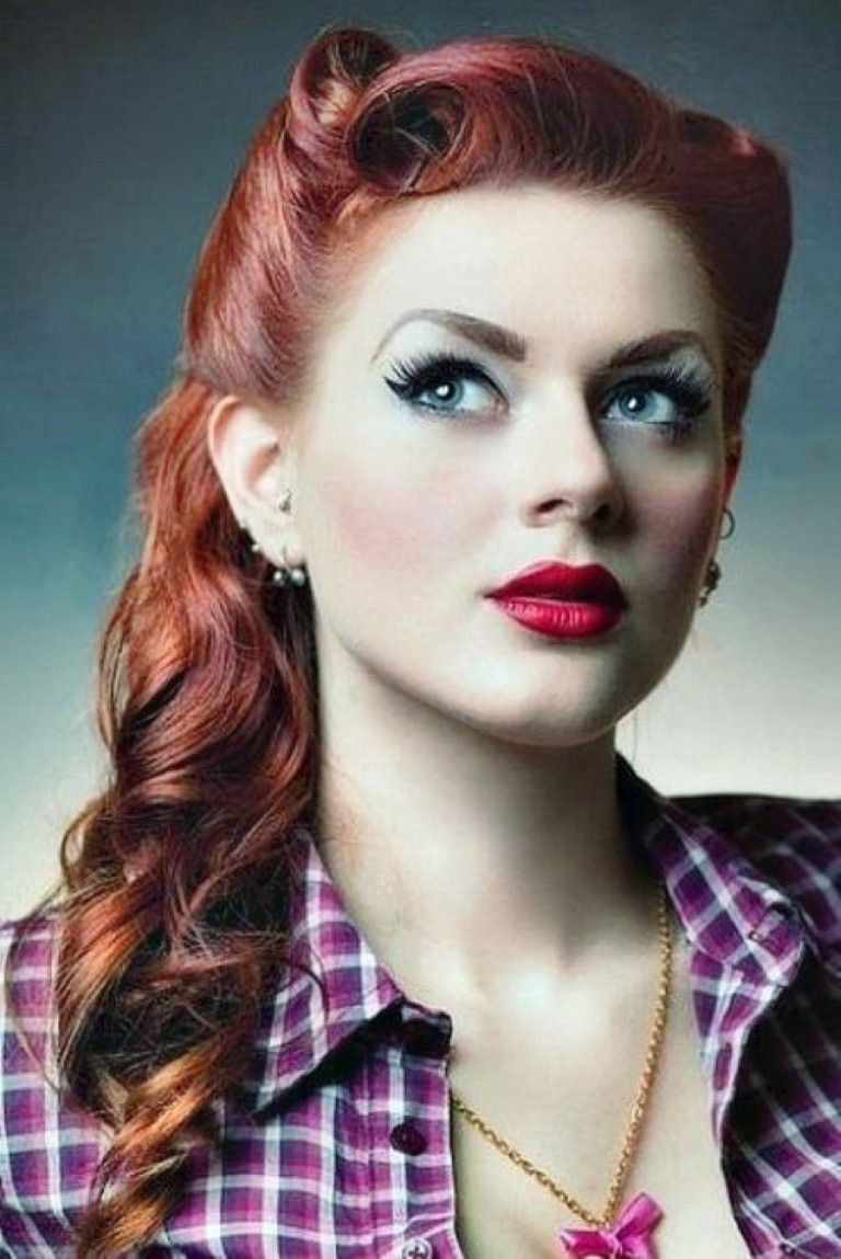 rockabilly hairstyles for long hair rockabilly pinup pinterest retro hair short angled. Black Bedroom Furniture Sets. Home Design Ideas