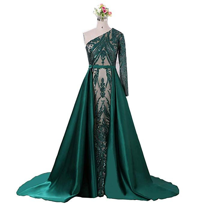 Aries Tuttle Green Sequined Satin Mermaid Prom Evening Party Dress  Celebrity Pageant Gown Detachable Train at Amazon Women s Clothing store  f679fff8dfa6