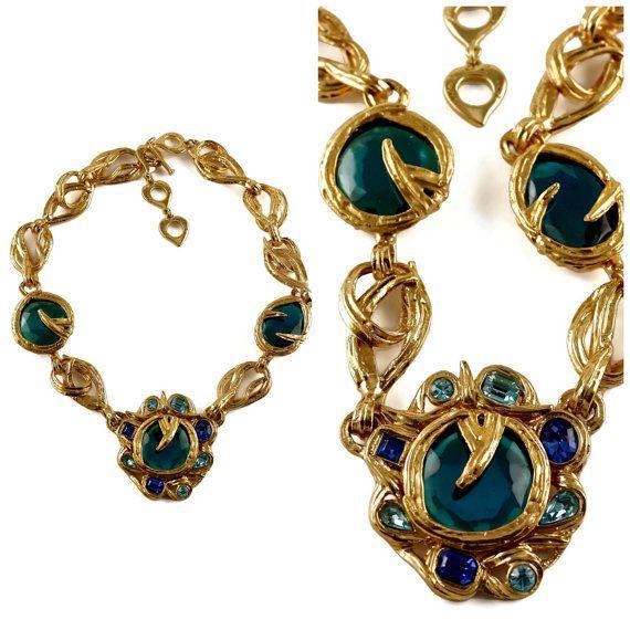 d2098d7ff22 Vintage YSL Yves Saint Laurent Robert Goossens Opulent Blue Stones ...