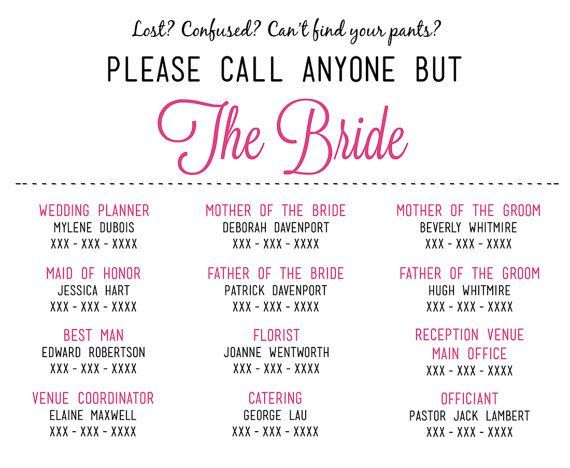 Please Call Anyone But the Bride - Wedding Insert Information Card ...