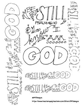 Doodle Verse Psalm 46 10 Psalms Bible Coloring Pages Coloring