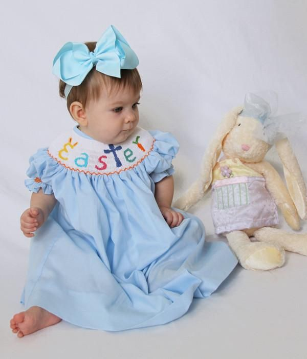 Girls Smocked Easter Bunny Bishop Dress