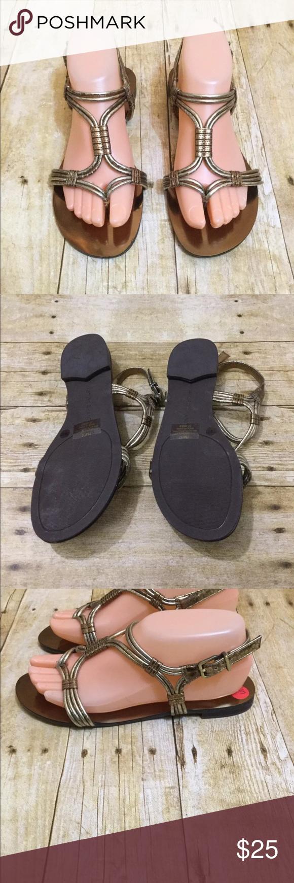 1b009918e618b Arturo Chiang Metallic Pewter Bronze Sandal Size 7