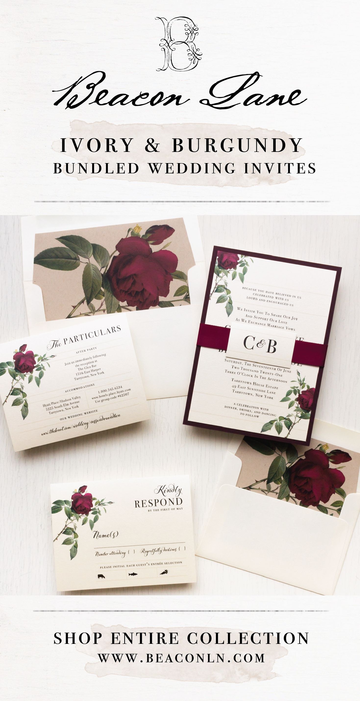 Ivory Burgundy Wedding Invitations Beacon Lane Destination Wedding Invitations Wedding Invitations Burgundy Wedding Invitations